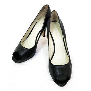 Nine West Open Toe Black Leather Heels 9.5M